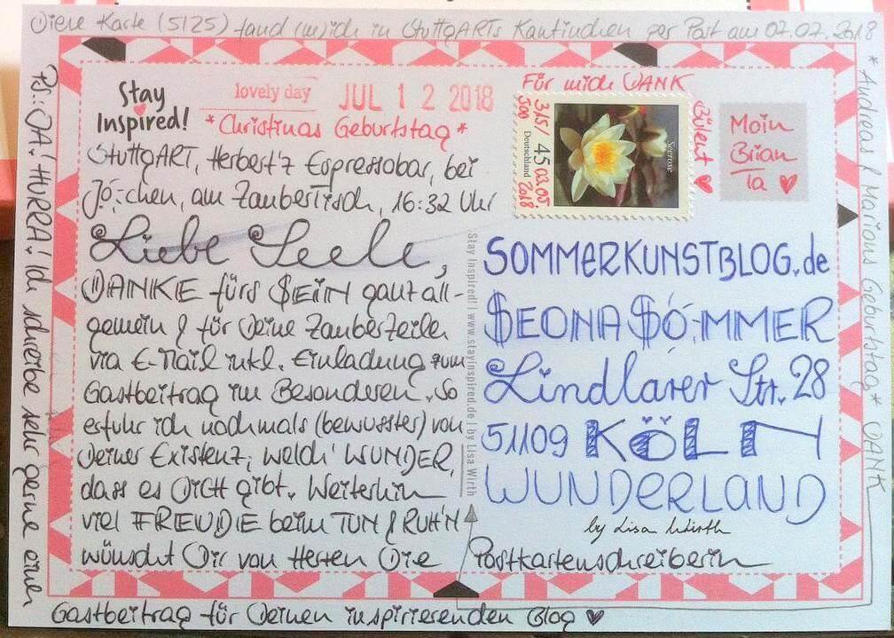 Postkarte von Sabine Rieker an SommerKunstBlog vom 12. Juli 2018