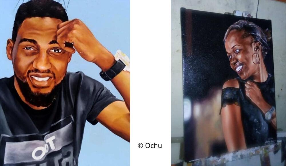 2 Ölporträts von Ochu